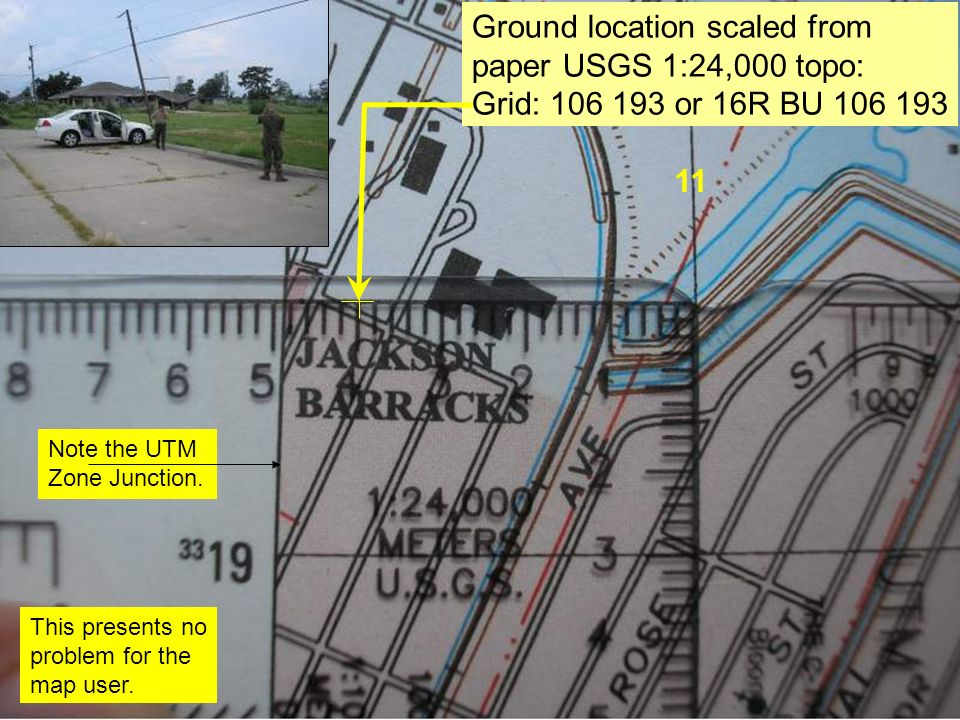 11 Ground location scaled from paper USGS 1:24,000 topo: