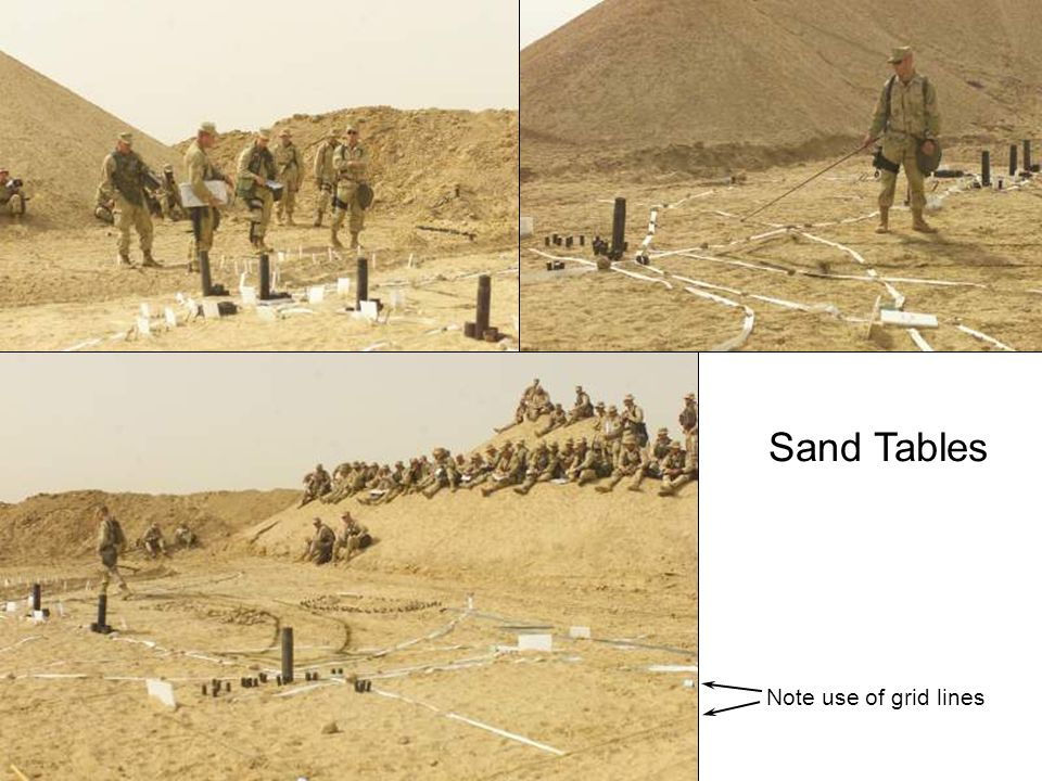 Sand Tables Note use of grid lines