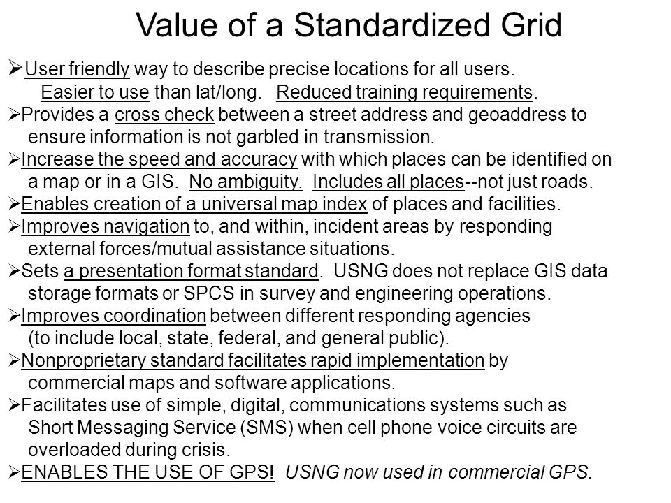 Value of a Standardized Grid