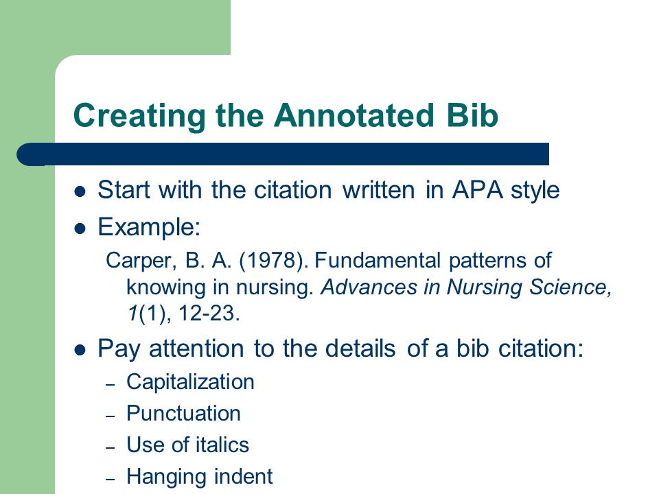Creating the Annotated Bib