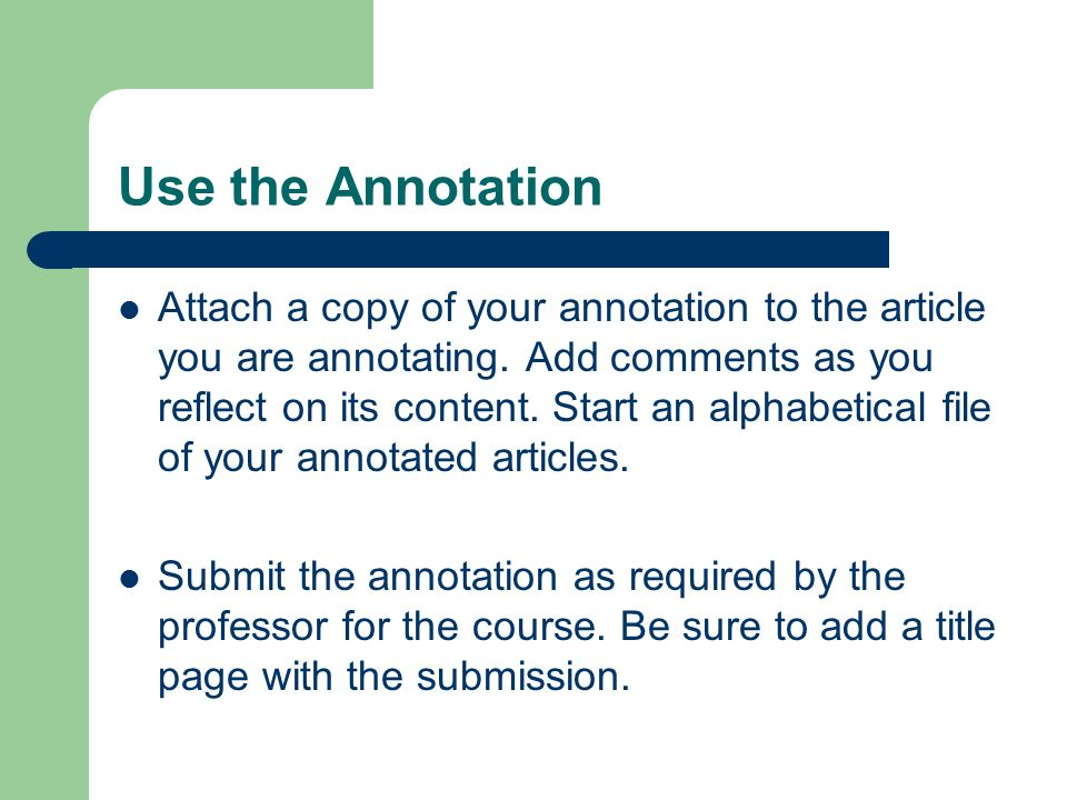 Use the Annotation