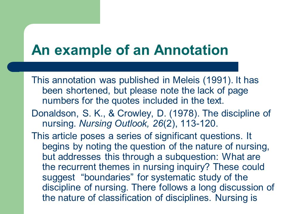 An example of an Annotation