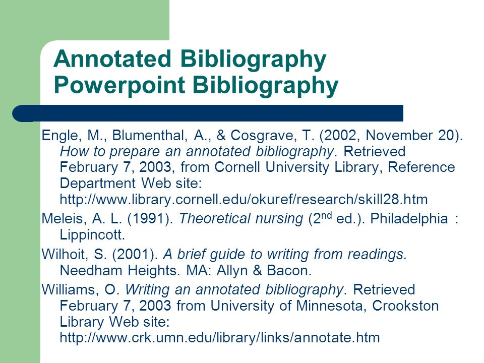 Annotated Bibliography Powerpoint Bibliography