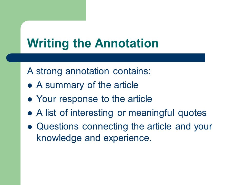 Writing the Annotation
