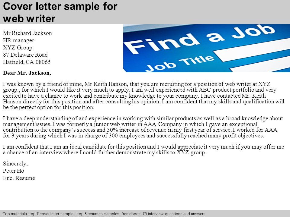 writer cover letter sample