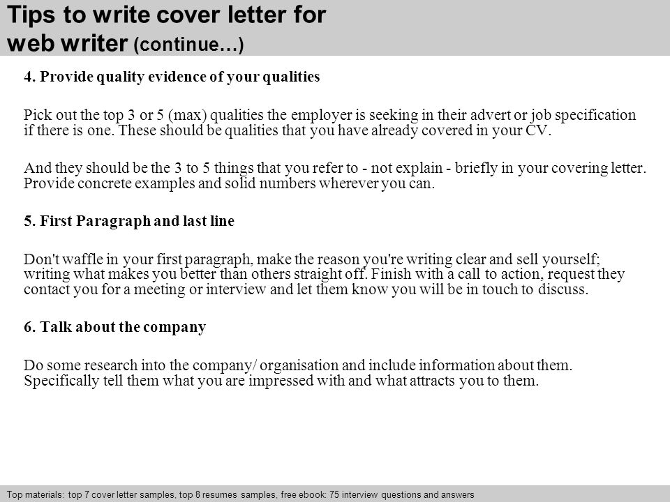 tips to write cover letter for web writer continue