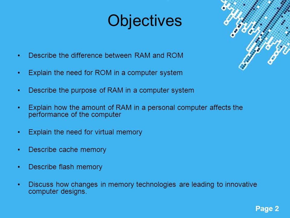 Gcse computing memory powerpoint templates ppt video online download objectives describe the difference between ram and rom toneelgroepblik Choice Image