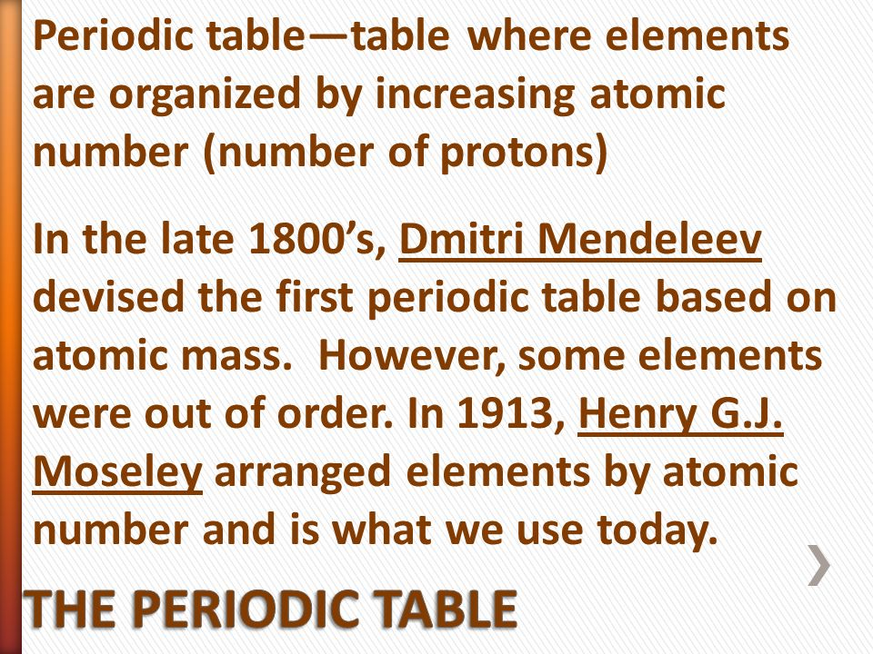 Properties of atoms and the periodic table ppt video online download 16 periodic tabletable where elements are organized by increasing atomic urtaz Images