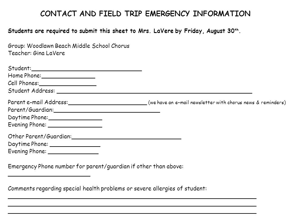 CONTACT AND FIELD TRIP EMERGENCY INFORMATION