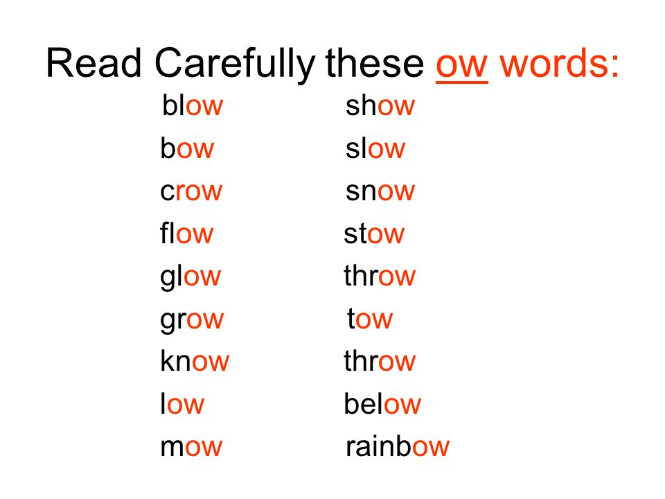 Read Carefully these ow words: