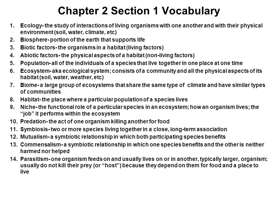 Chapter 2 Section 1 Vocabulary