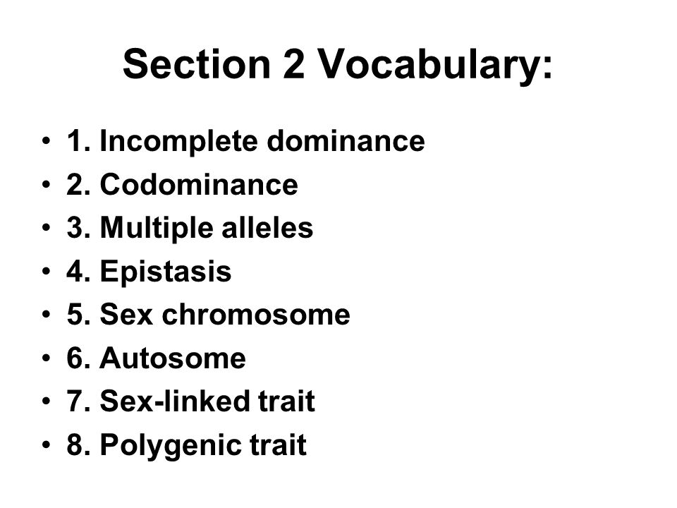 Section 2 Vocabulary: 1. Incomplete dominance 2. Codominance