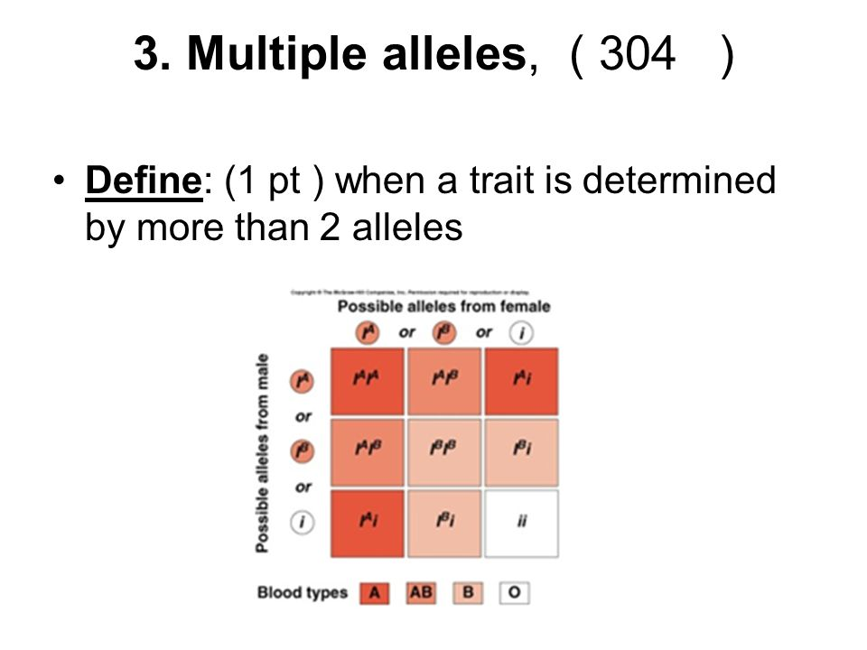 3. Multiple alleles, ( 304 ) Define: (1 pt ) when a trait is determined by more than 2 alleles