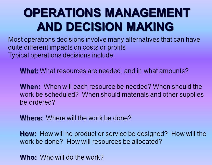 briefly discuss some facets of operations management planning Elements of a business plan  operations & management  there are two areas that need to be accounted for when planning the operations of your company the first area is the organizational.