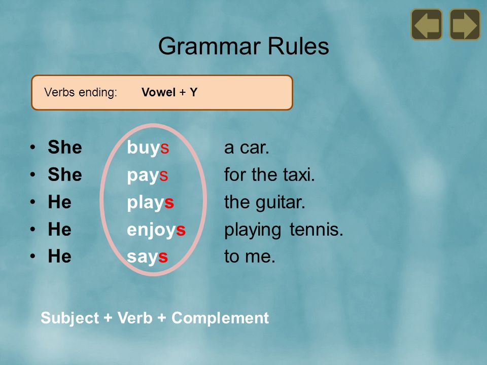 Grammar Rules She buys a car. She pays for the taxi.