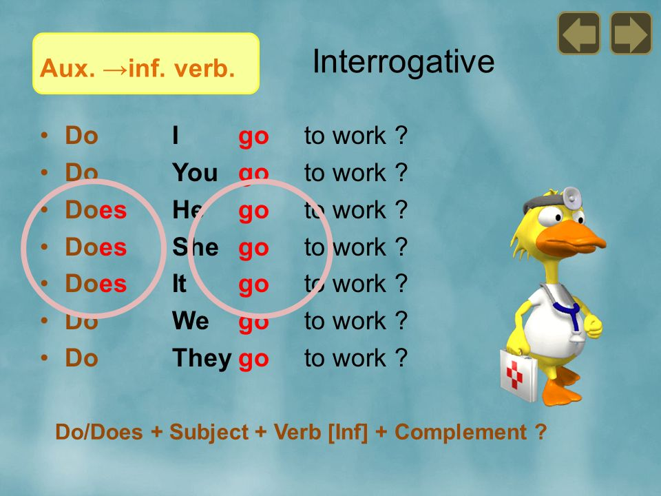 Interrogative Aux. →inf. verb. Do I go to work Do You go to work