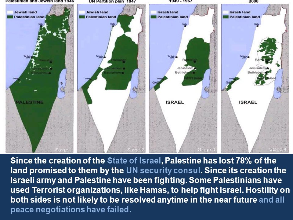 Since the creation of the State of Israel, Palestine has lost 78% of the land promised to them by the UN security consul.