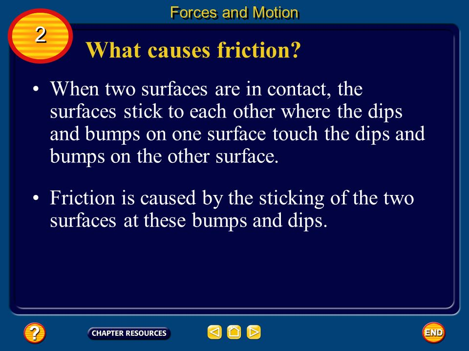 Forces and Motion 2. What causes friction