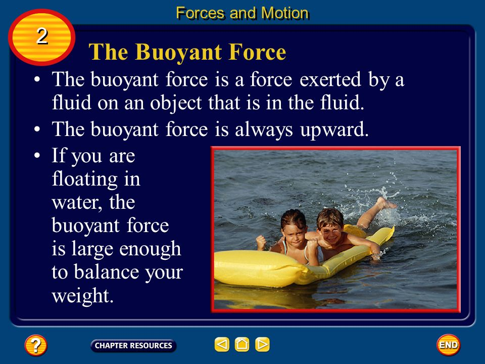 Forces and Motion 2. The Buoyant Force. The buoyant force is a force exerted by a fluid on an object that is in the fluid.