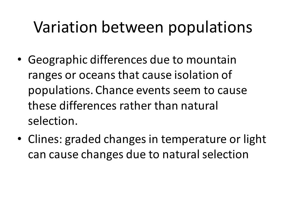 Variation between populations