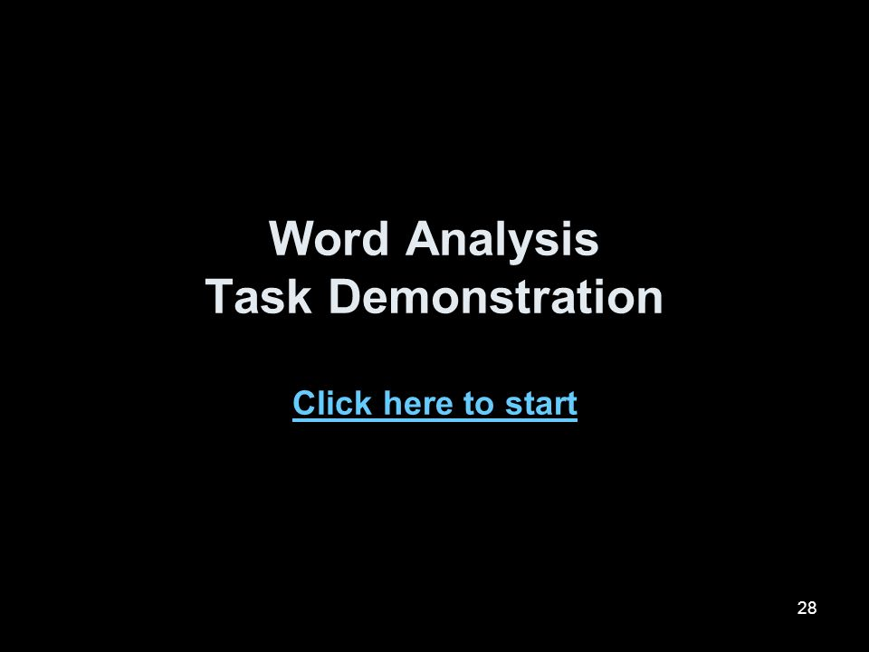 Word Analysis Task Demonstration Click here to start