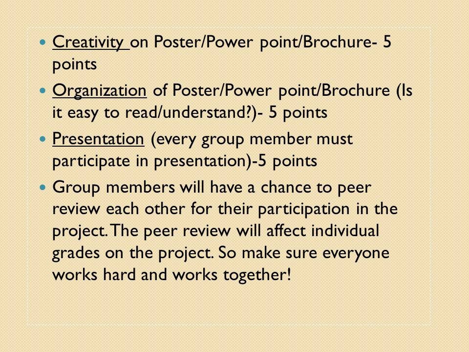 Creativity on Poster/Power point/Brochure- 5 points