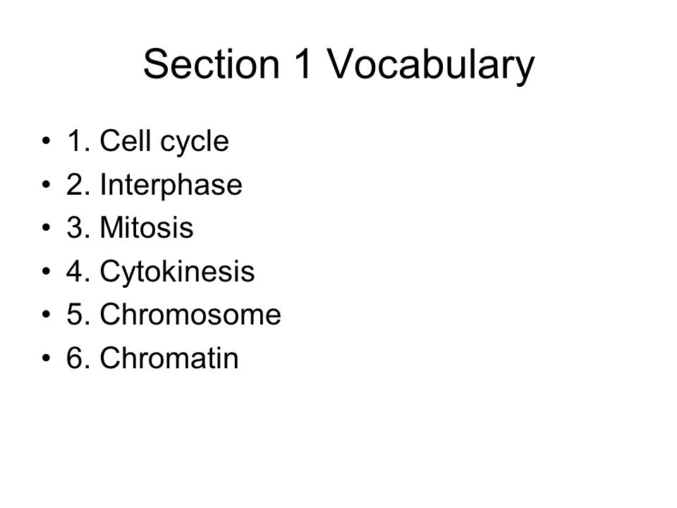 Section 1 Vocabulary 1. Cell cycle 2. Interphase 3. Mitosis