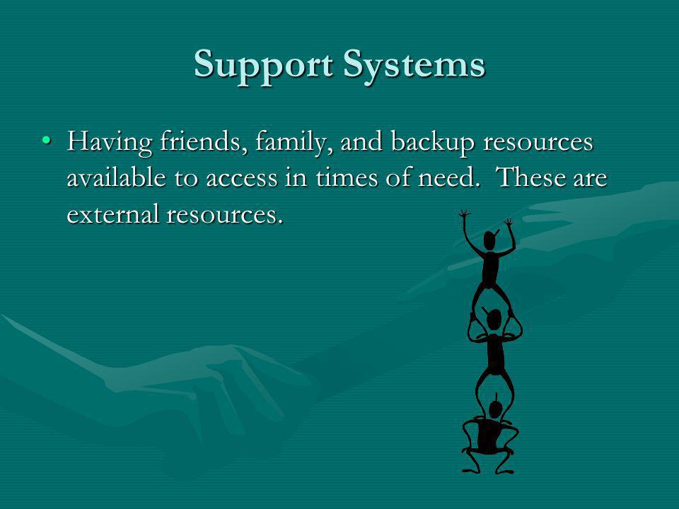Support Systems Having friends, family, and backup resources available to access in times of need.