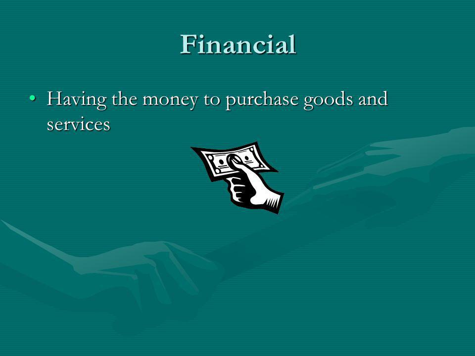 Financial Having the money to purchase goods and services
