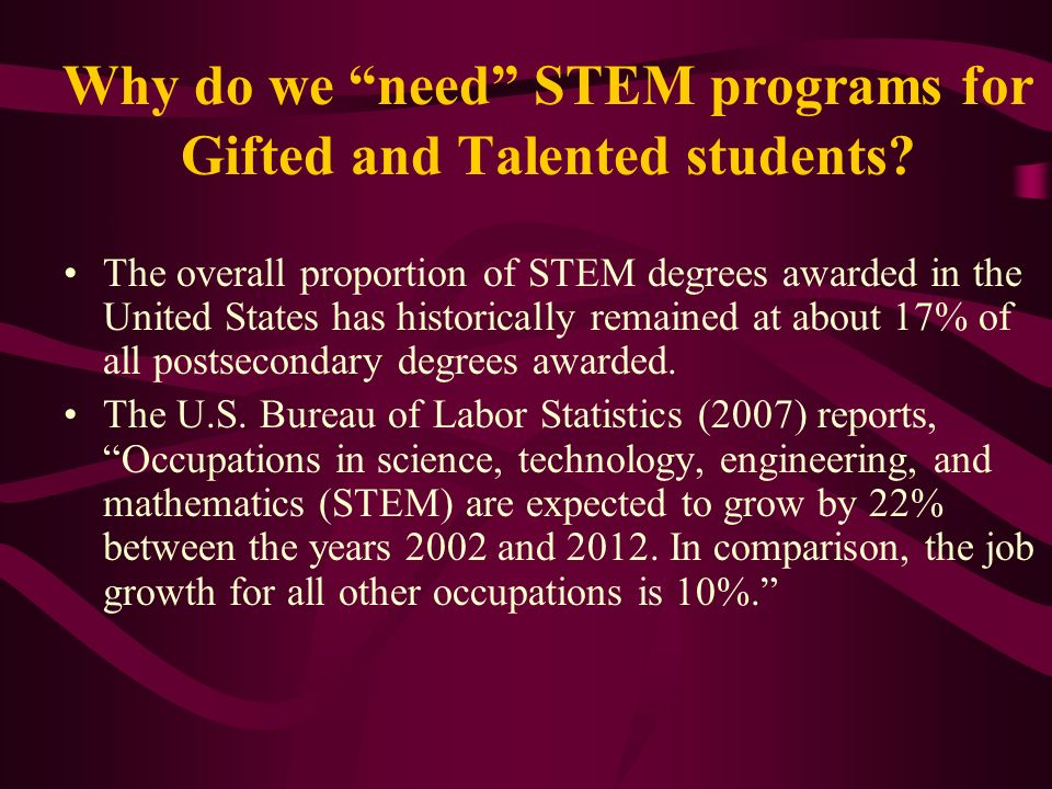 Why do we need STEM programs for Gifted and Talented students
