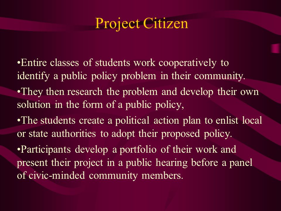 Project Citizen Entire classes of students work cooperatively to identify a public policy problem in their community.
