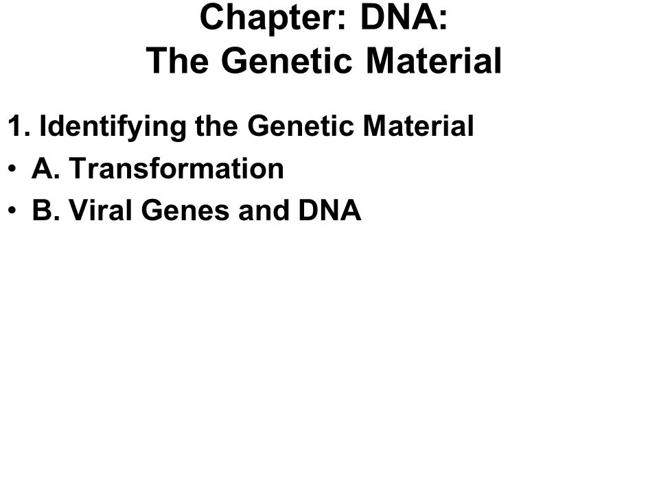 Chapter: DNA: The Genetic Material