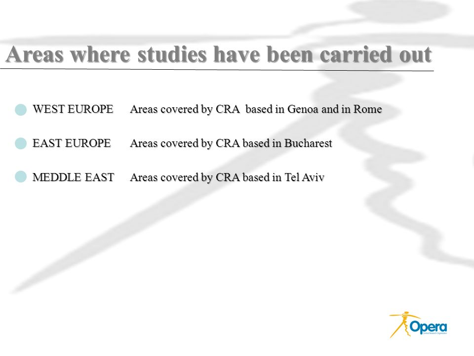 Areas where studies have been carried out