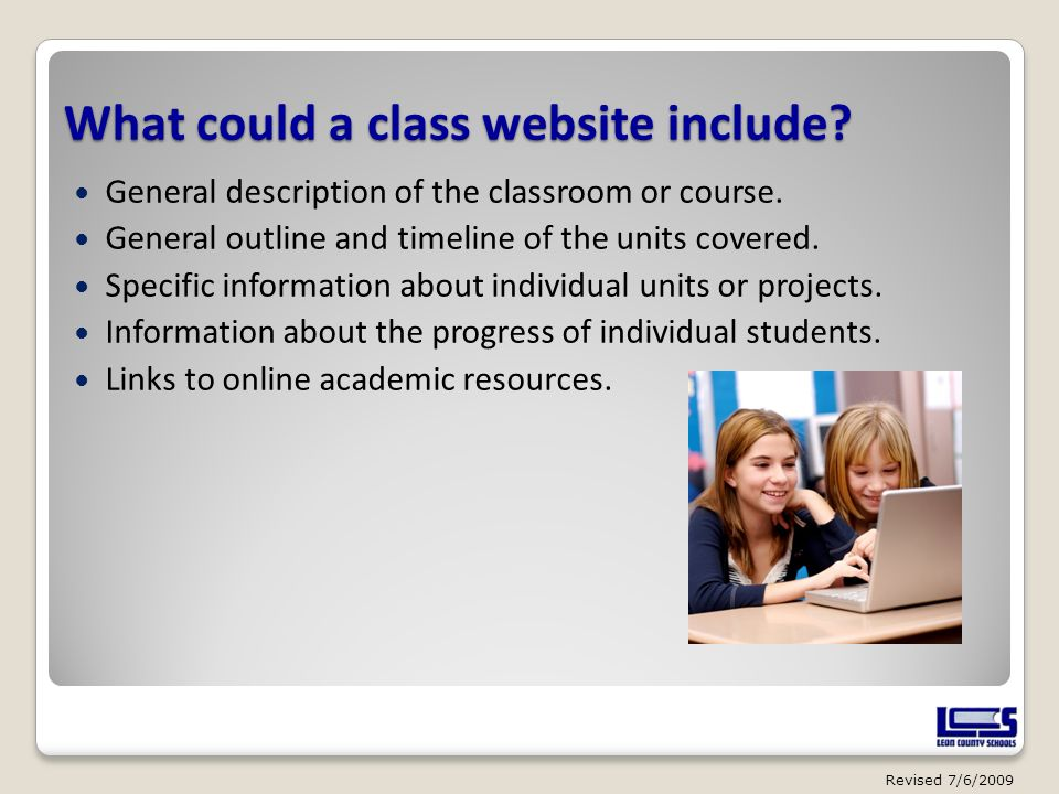 What could a class website include