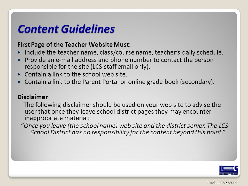 Content Guidelines First Page of the Teacher Website Must: