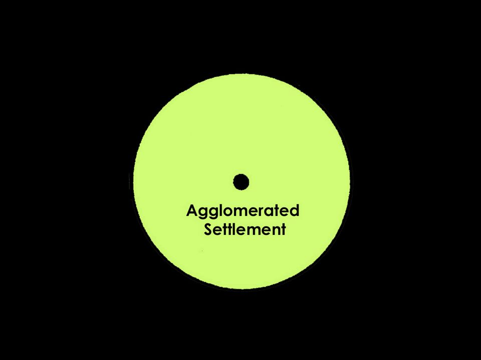 Agglomerated settlements are geographically clustered, as opposed to dispersed settlement (as an area where people live on farms).