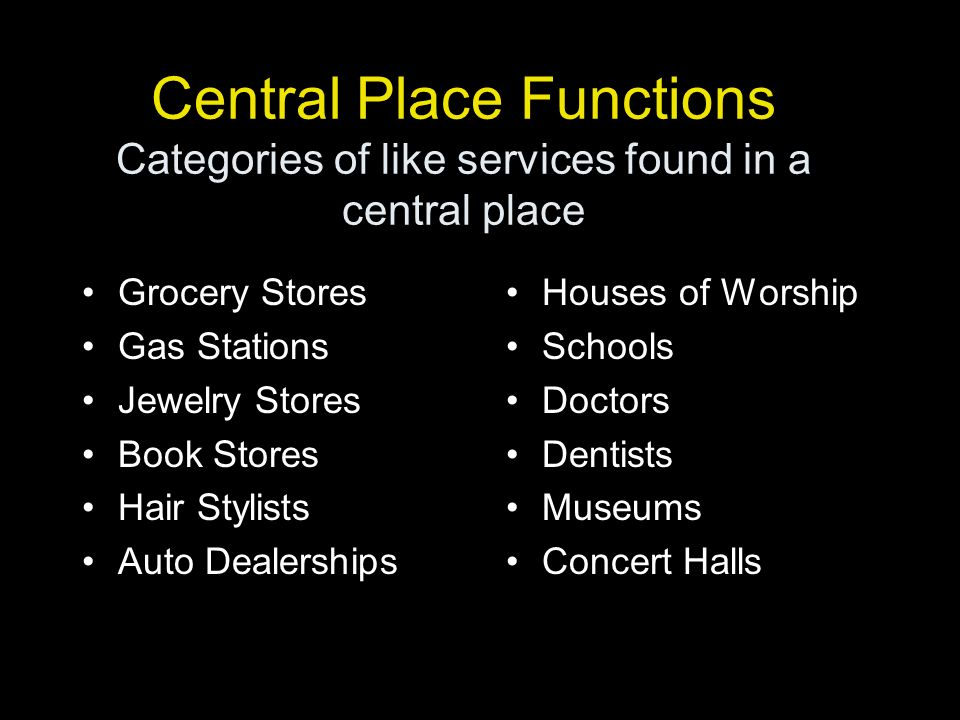 Central Place Functions Categories of like services found in a central place