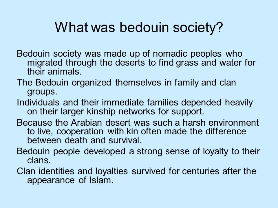 What was bedouin society