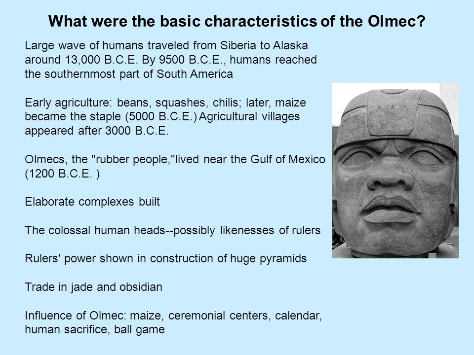 What were the basic characteristics of the Olmec
