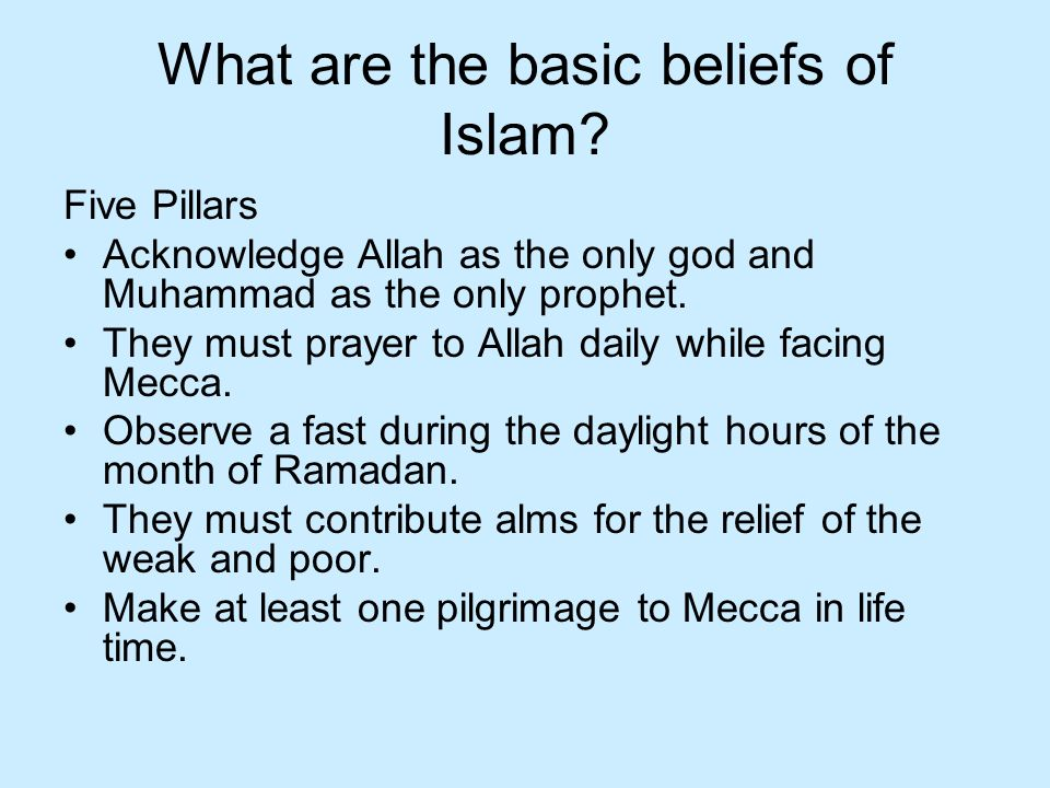What are the basic beliefs of Islam