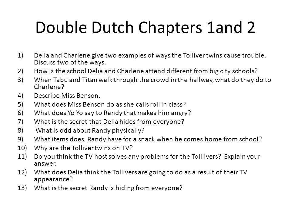 Double Dutch Chapters 1and 2