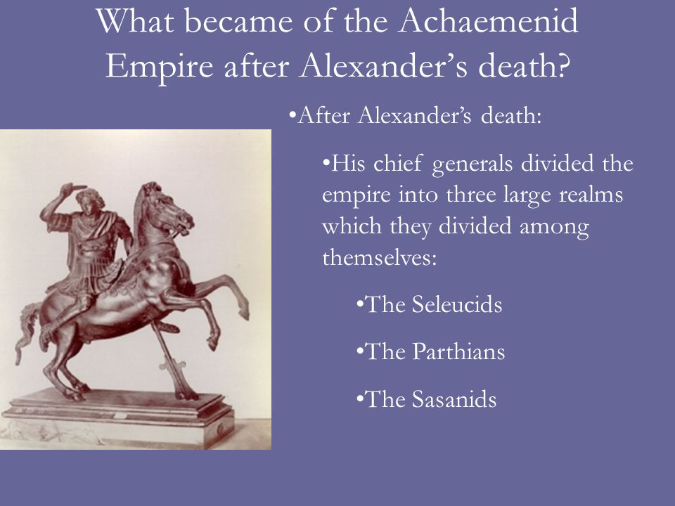 What became of the Achaemenid Empire after Alexander's death