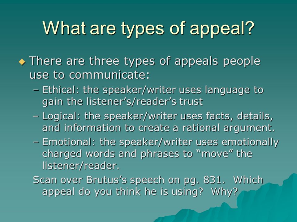 What are types of appeal
