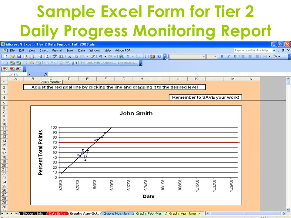 Sample Excel Form for Tier 2 Daily Progress Monitoring Report