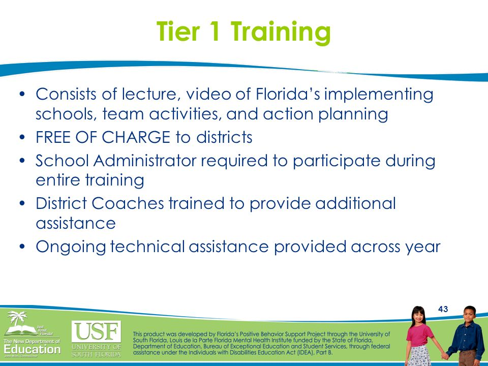 Tier 1 Training Consists of lecture, video of Florida's implementing schools, team activities, and action planning.