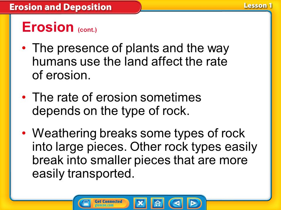 Erosion (cont.) The presence of plants and the way humans use the land affect the rate of erosion.