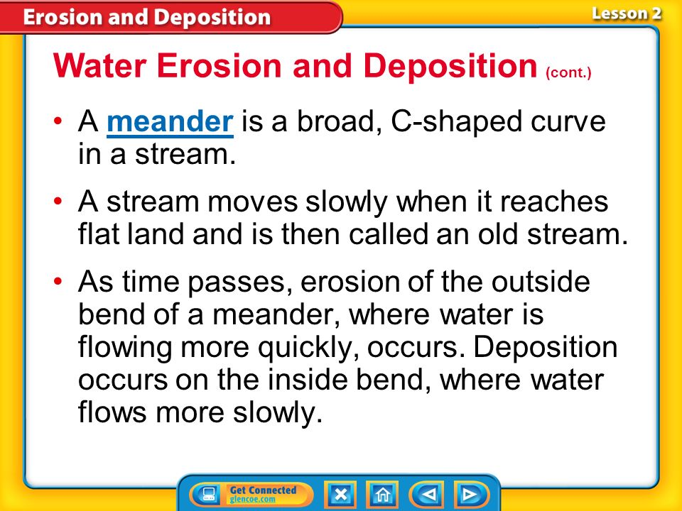 Water Erosion and Deposition (cont.)