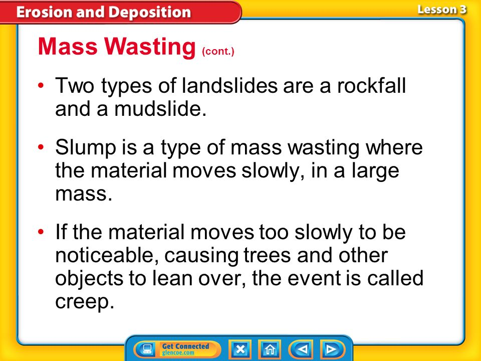 Mass Wasting (cont.) Two types of landslides are a rockfall and a mudslide.