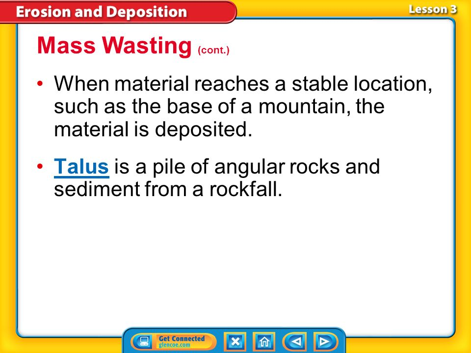 Mass Wasting (cont.) When material reaches a stable location, such as the base of a mountain, the material is deposited.