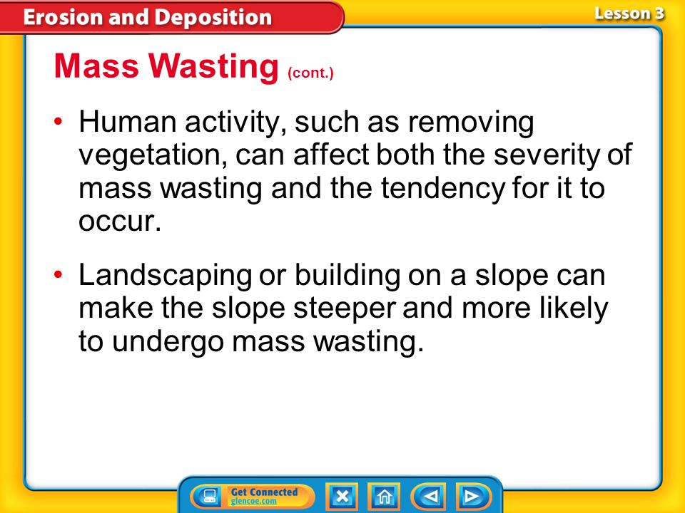 Mass Wasting (cont.) Human activity, such as removing vegetation, can affect both the severity of mass wasting and the tendency for it to occur.